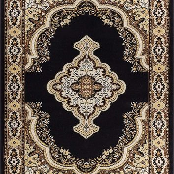 5084 Black Medallion Traditional Area Rugs