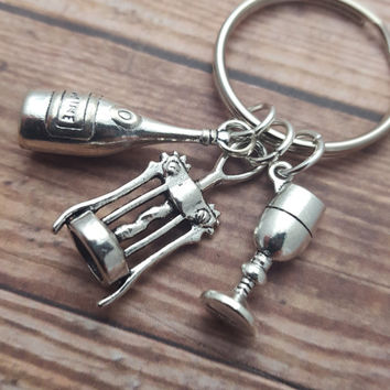 Wine Keyring, Alcohol Keychain, Wine Charms, Wine Lover Gift, Fun Accessory, Drink Keyring, I Love Wine, Gift For Her, Wine Keychain, Booze