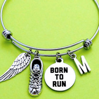 Personalized, Letter, Initial, BORN TO RUN, Runner, Wing, Bangle, Bracelet, Weight, Loss, Marathon, Jewelry, Friendship, Gfit, Jewelry
