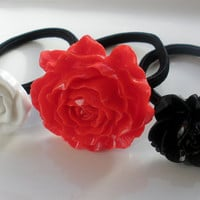 Bold and Beatiful Black Red White ponytail holders hairbands hair accessories lot of 3 set