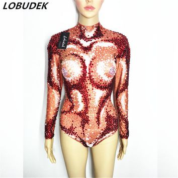 Red Super flash crystals stretch leotard bodysuit bright Crystals jumpsuit Rompers female sexy costume with diamond DJ DS show