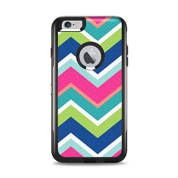 The Vibrant Teal & Colored Layered Chevron V3 Apple iPhone 6 Plus Otterbox Commuter Case Skin Set