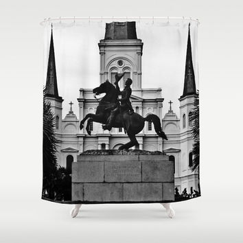 Jackson Squared Designer Shower Curtain - black and white New Orleans bathroom decor, Nola, travel, landmark photoghraphy