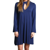 Navy Piko Keyhole Bell Sleeve Dress