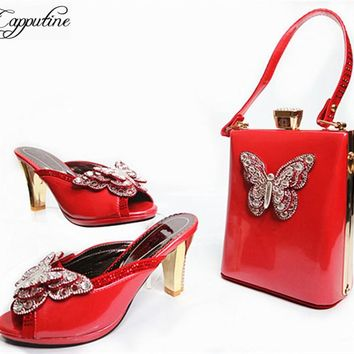 """CAPPUTINE"" Women's Leather Heels And HandBag Set (Italian Style)"