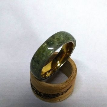 Natural Jade Gold Stainless Steel Ring