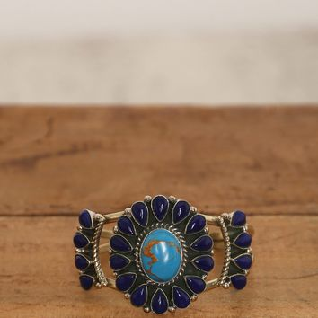 Stone Flower Cuff - Blue - What's New at Gypsy Warrior