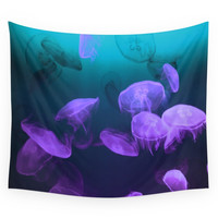 Society6 Moon Jellyfish - Blue And Purple Wall Tapestry
