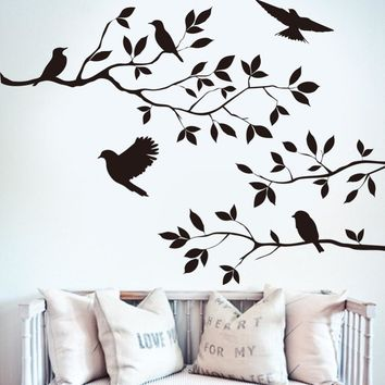 Drop Shipping Black Bird Tree Branch Wall sticker Wall Quote Decal Removable Art Home Mural Decor Decoration Flying Birds Decals