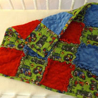 Tractors and Minky Rag Quilt, Security Blanket - Lovey - Cradle, Carseat, Stroller, Travel Soother - Minky Baby Blanket
