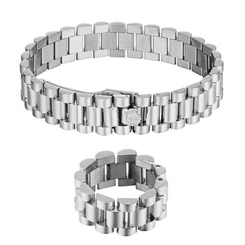 Men's Presidential Link Bracelet & Ring Set 14K White Gold Stainless Steel Combo Set