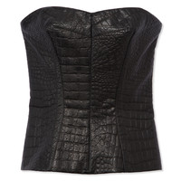 Yigal Azrouel Embossed Leather Bustier - Black Strapless Top - ShopBAZAAR