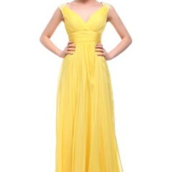 Beading Shoulder Ruching Waistband Daffodil Evening Dress