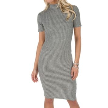 Miss Selfridge Women's Contemporary High Neck Ribbed Dress at Von Maur