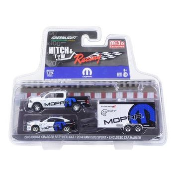 2014 Dodge Ram 1500 Pickup Truck and 2016 Charger SRT Hellcat with Car Hauler MOPAR Hitch & Tow Racing Edition 1/64 Diecast Model Car by Greenlight