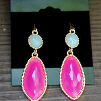 Two Tone Pink & Mint Earrings
