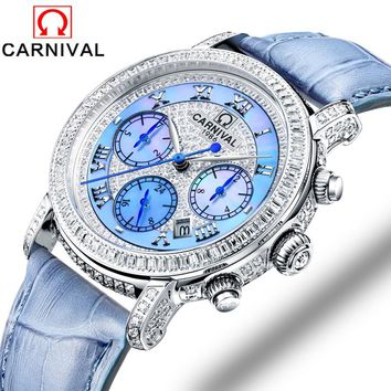 Carnival Brand Women's Skeleton Mechanical Leather Band Watch