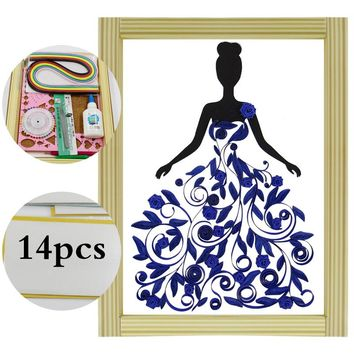 16 colorful Quilling Paper Craft Kits 14Pcs Tool set dress girl Decorating