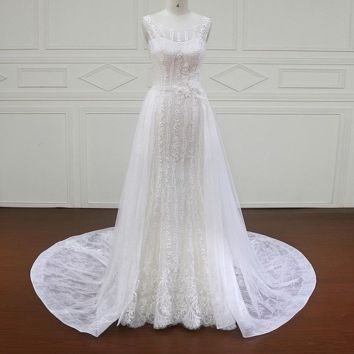Sleeveless Wedding Dresses Illusion Appliques Beaded Lace A Line Bridal Gown