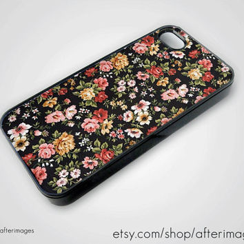 Floral iPhone 5 4 4S Case iPhone 4 New Print Black Silicone