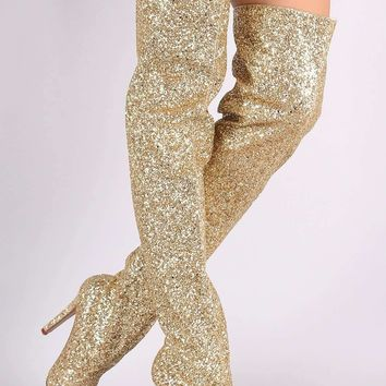 Wild Diva Lounge Glitter Pointy Toe Stiletto Over-The-Knee Boots