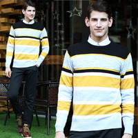 Stripe Knit Spliced Sweater