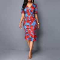 Summer Elegant Sexy Vintage African Plus Size Women Midi Dress Pleated Party Retro Ladies Floral V Neck Chic Dress Big Size