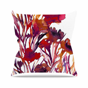 "Ebi Emporium ""Pocket Full Of Posies Red"" Maroon Purple Outdoor Throw Pillow"
