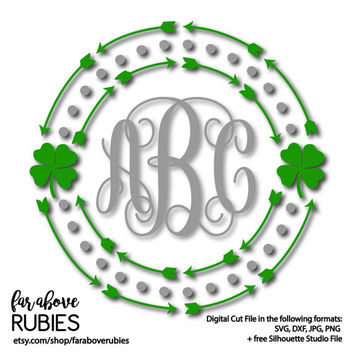 St Patrick's Day Shamrock Four Leaf Clover Monogram Wreath (monogram NOT included) - SVG, DXF, png, jpg digital cut file Silhouette Cricut
