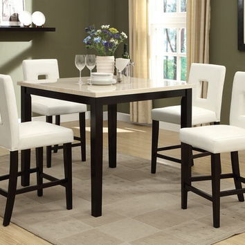 Poundex F2338-1322 5 pc square cream faux marble espresso finish wood counter height dining table set with cream faux leather upholstered chairs