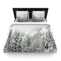 "Robin Dickinson ""Winter Wonderland"" White Gray Woven Duvet Cover"