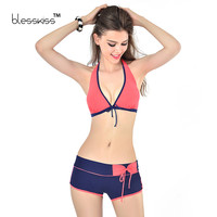 2017 Bikini Push Up Swimwear Women Swimsuit Solid Halter Plus Size Swimwear With Shorts Swimming Suit For Women Bathing Suit XXL