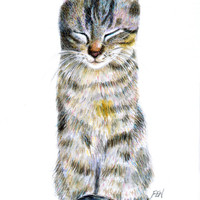 "cat drawing ""A Dozing Cat"" desk art decor nursery room cat lover gift birthday  (115)"
