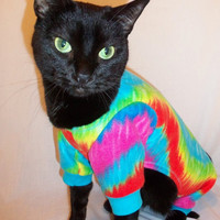 CoolCats Tie Dye Fleece Pajamas for Cats