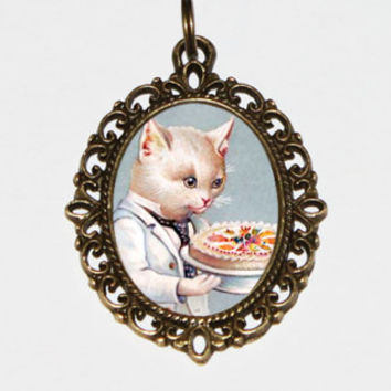 Cat Necklace, Wedding, Birthday, Cake, Victorian Cats, Bronze Oval Pendant