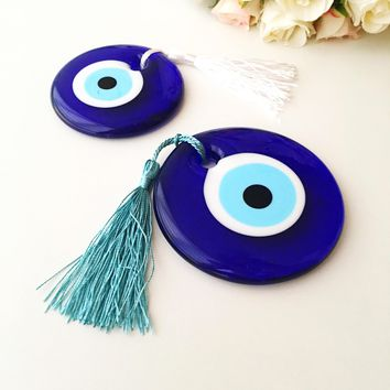 Evil eye beads, bulk gifts, 7cm, wedding favor for guest, evil eye charm with tassel