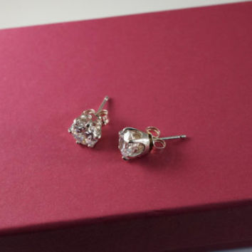 Hearts & Arrows Cut 1.03 Carats each - 6.5mm Cubic Zirconia Diamond Simulant Sterling Silver Stud Earrings 2.06ctw