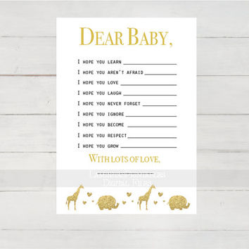 baby shower wish cards, baby shower wishes for baby, baby shower gold, safari theme, baby shower games, printable games, gender neutral baby