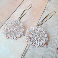 B E A U T Y - Soft Pink Circle Lace Flower Hand Painted Filigree Antique Bronze Metal Kidney Wire Hook Dangle Earrings