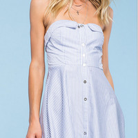 Light Blue Strapless Stripe Button Down Dress  11061