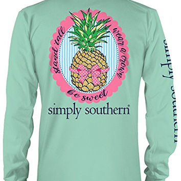 Simply Southern Stand Tall Wear a Crown Be Sweet Pineapple Long Sleeve T-shirt