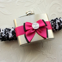 FLASK GARTER with Black and White Damask Print by MoonshineBelle