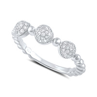 Sterling Silver Cz Thin Domed Stackable Ring