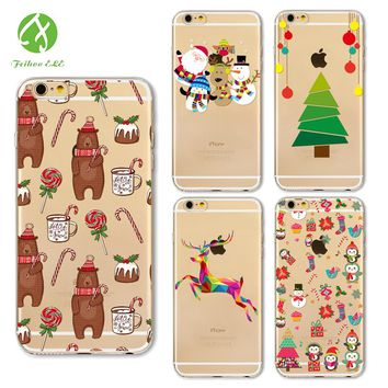 FEIHOO ELE Phone Case For Iphone X 8 8P 7 7P 6s 6P Christmas Series Transparent Silicone Cartoon TPU Soft Cover Phone Accessorie