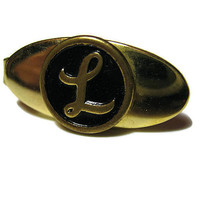 Vintage Tie Clip Letter Initial L Black Gold Tone Small Oval Tie Clasp Mens Guys Dudes Gift Fathers Day Christmas Valentines Day