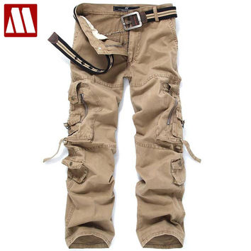 New men's washed cotton casual trousers loose man cargo pants multi-pocket male slacks