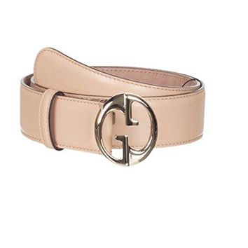Gucci Women's Beige Leather Interlocking GG Buckle Belt