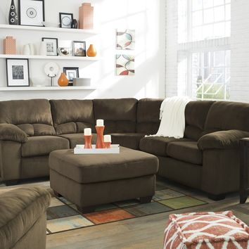 95403 - The Daily Sectional w/ Ottoman - Brown