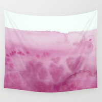 Pink Waves Wall Tapestry,  Watercolor Hearts Fabric wall art,  waves, shore, apartment, feminine, dorm room