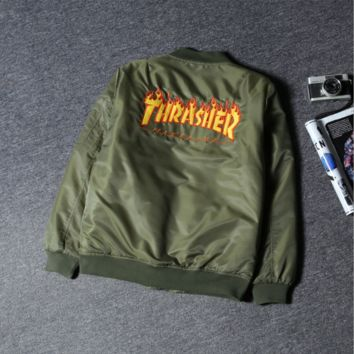 Thrasher Fashion Women Men Baseball Jacket Coat Aviation jacket Green